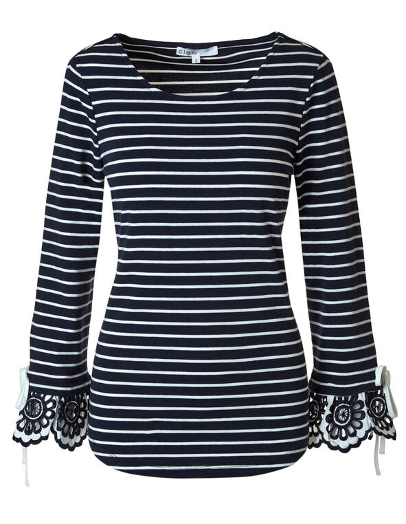 Navy Striped Bell Sleeve Top, Navy/White, hi-res