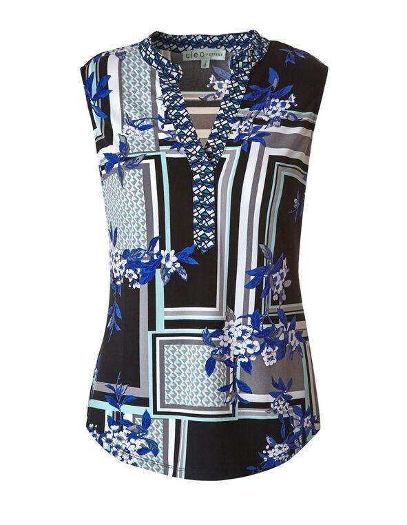 Blue Floral Printed Top, Blue/Black, hi-res