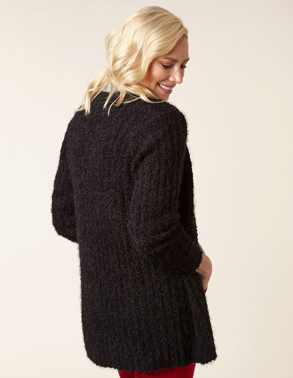 Black Eyelash Cardigan, Black, hi-res