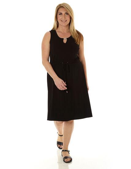 Black Tie Waist Dress, Black, hi-res