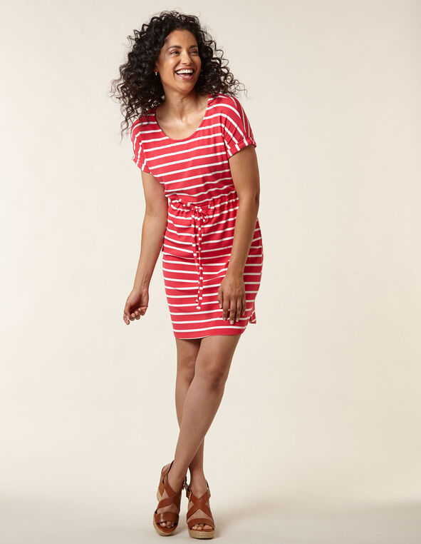 Mango Striped T-Shirt Dress, Pink, hi-res