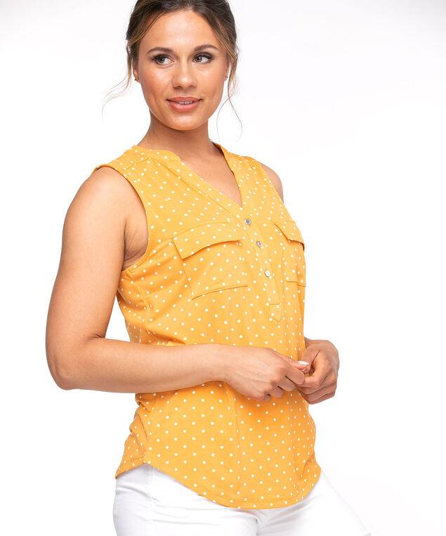 Sleeveless Y-Neck Knit Top, Yellow/White Dot