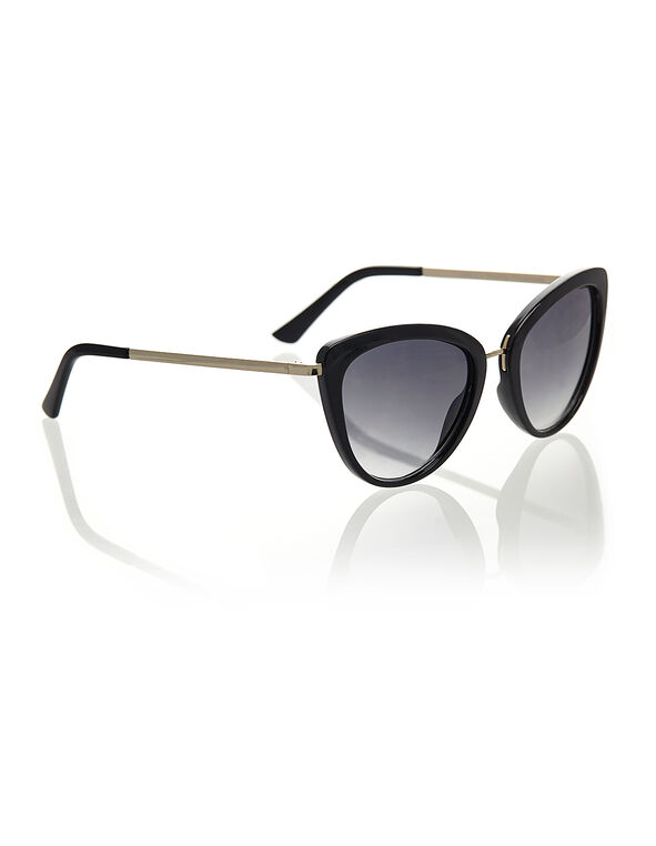 Black Cat Eye Sunglasses, Black, hi-res
