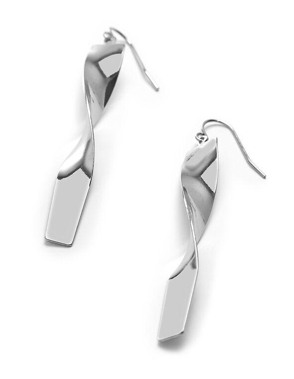 Silver Rectangular Twist Earring, Silver, hi-res