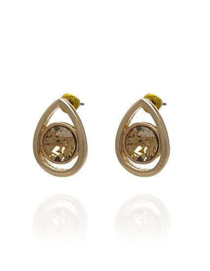 Genuine Crystal Topaz Pear Earring, Yellow/Topaz/Gold, hi-res