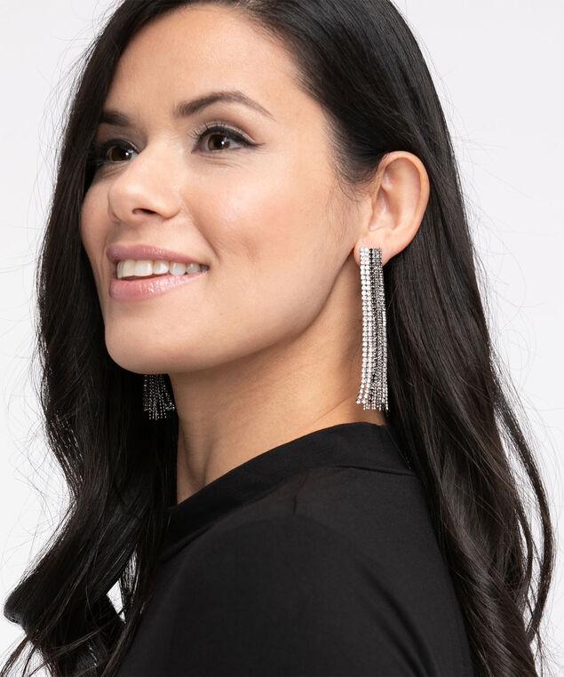 Crystal Drape Earring, Silver