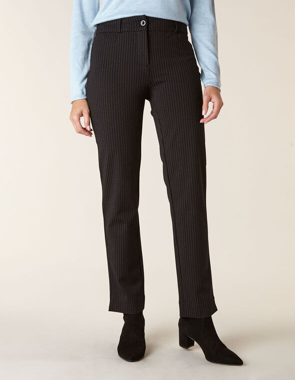 Black Knit Pinstripe Slim Leg Pant, Black, hi-res