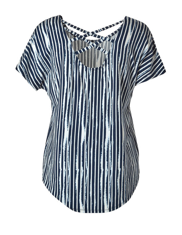 Blue Striped Crochet Sleeve Top, Blue, hi-res