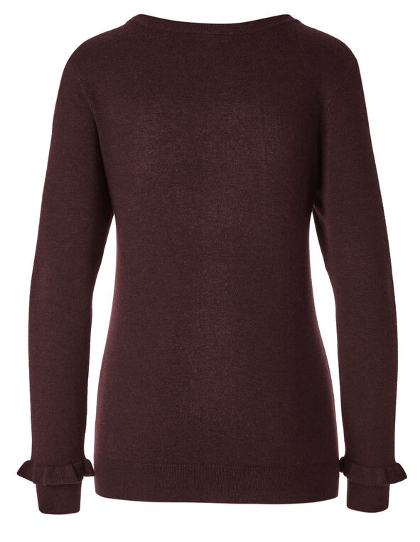 Burgundy Crew Neck Sweater, Burgundy, hi-res