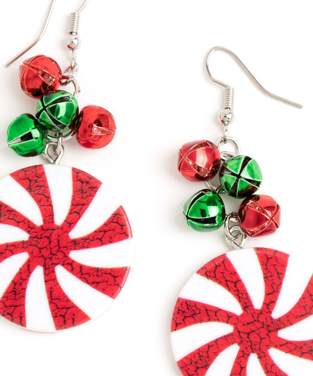 Peppermint Jingle Bell Earring, Silver/Red/White/Green