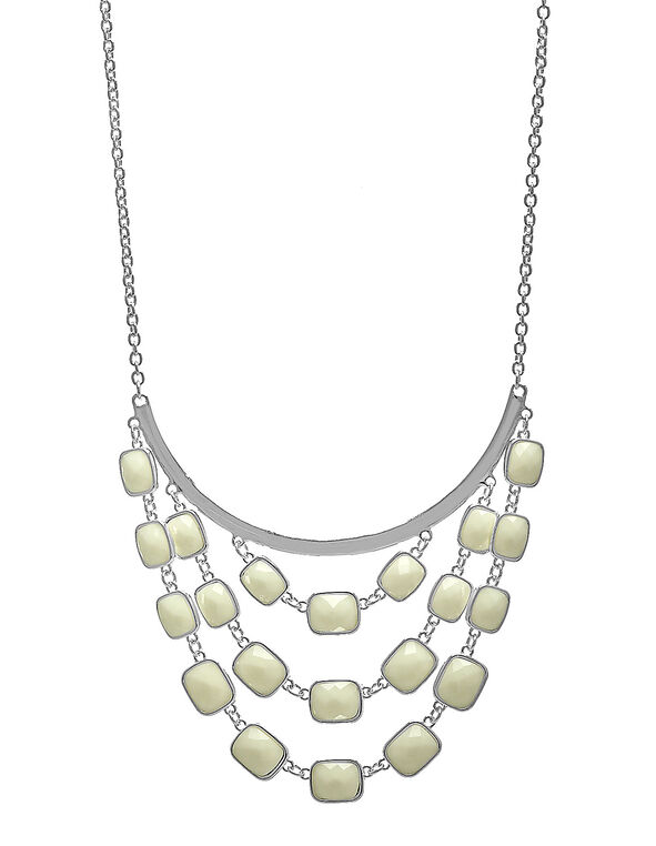 Ivory Faceted Stone Statement Necklace, Ivory, hi-res
