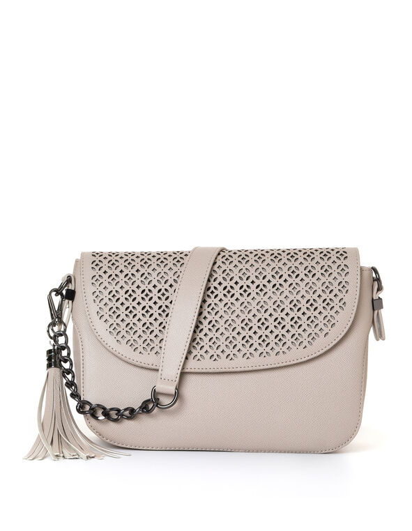 Stone Laser Cut Handbag, Neutral/Stone, hi-res