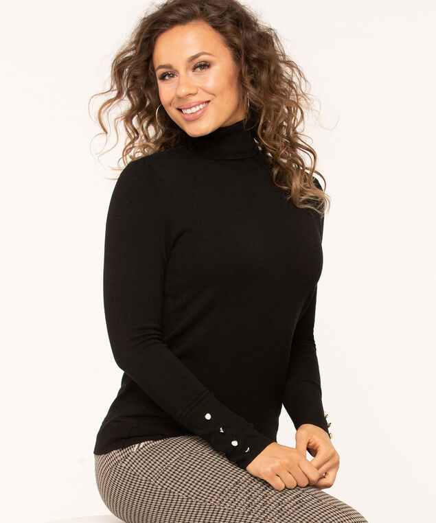 Long Sleeve Essential Turtleneck, Black, hi-res
