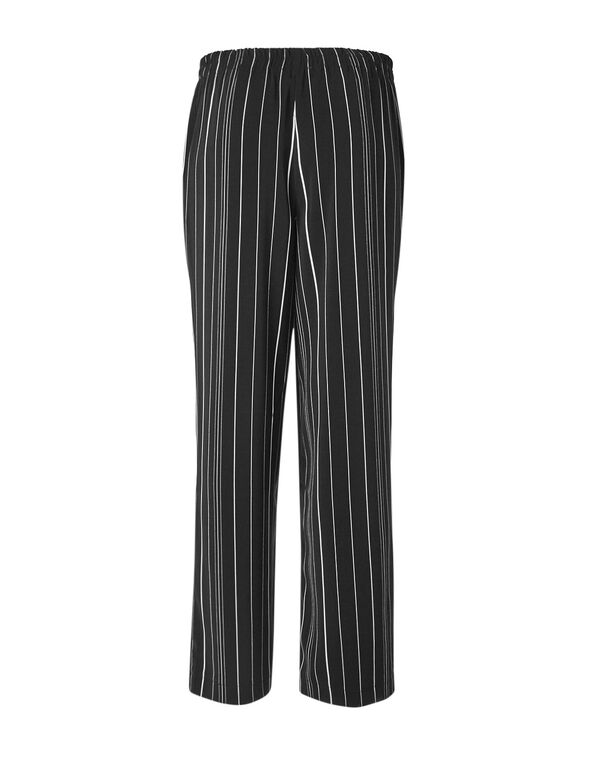 Black Striped Wide Leg Pant, Black, hi-res