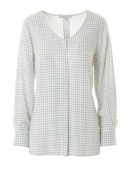 White Plaid Button Front Blouse, White, hi-res