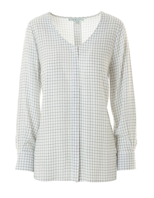 White Plaid Button Front Blouse, White, hi-res