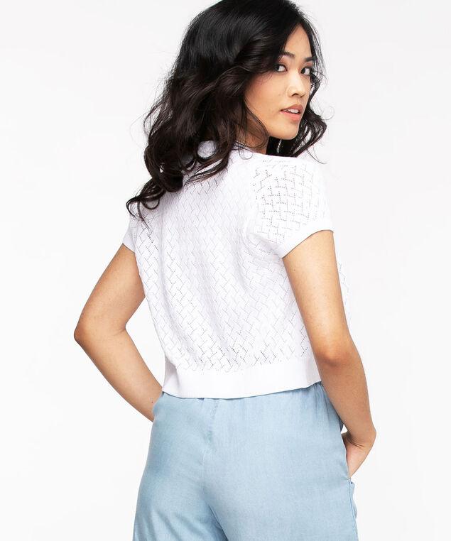 Cap Sleeve Pointelle Shrug Sweater, White