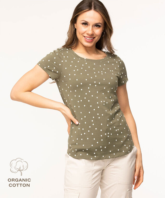Organic Cotton Graphic Tee, Green/White Dot