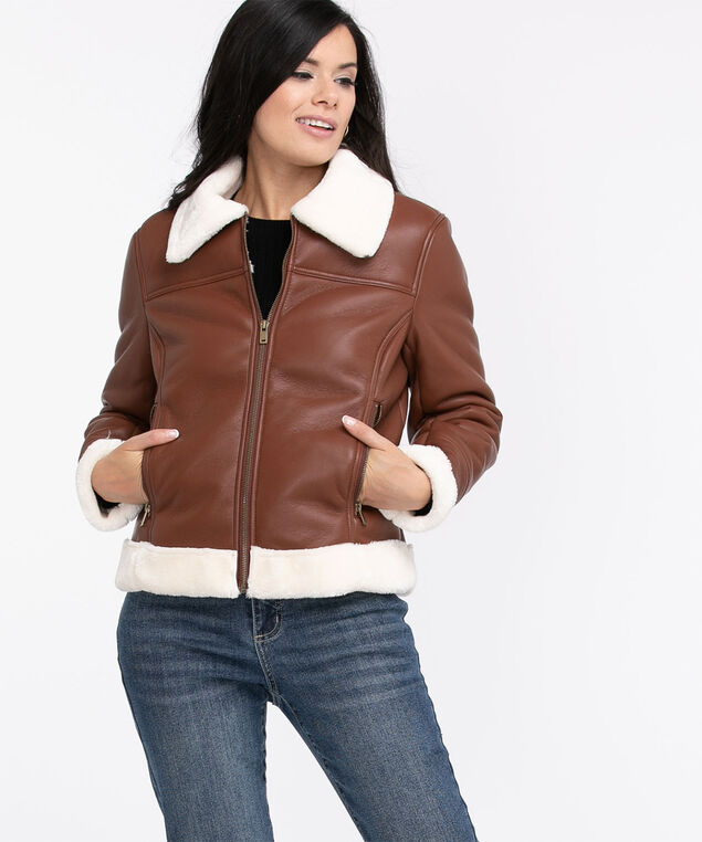 Brown Faux Leather Shearling Jacket, Brown