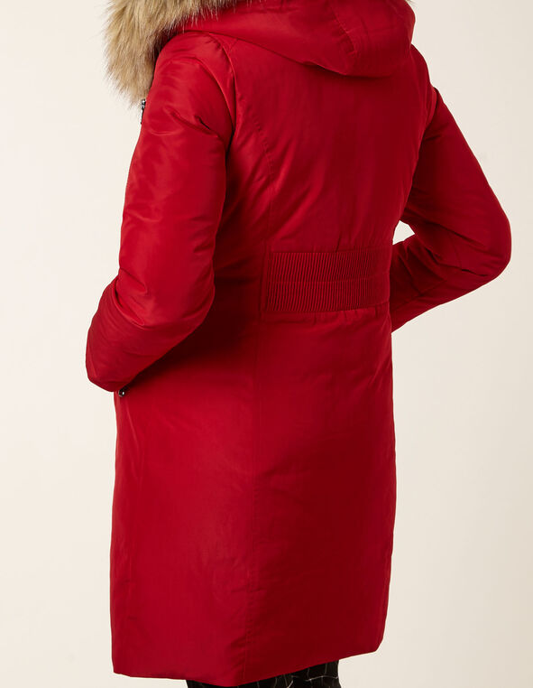 Red Asymmetrical Down Coat, Red, hi-res