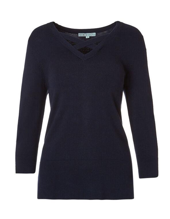 Navy Criss Cross Neckline Sweater, Navy, hi-res