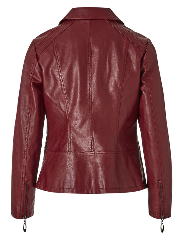 Red Shirt Collar Faux Leather Jacket, Red, hi-res