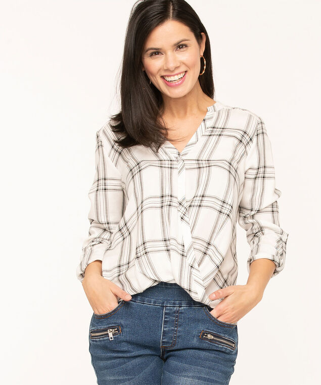 Ivory Plaid Twist Front Blouse, Ivory/Black