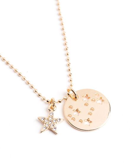 Gold Zodiac Disc Pendant Necklace, Pisces, hi-res