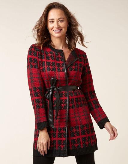 Ruby Plaid Sweater Coat, Red/Black, hi-res