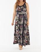 Navy Floral Print Maxi Dress, Navy, hi-res