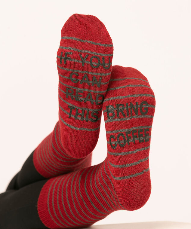 Super Soft Coffee Sock 2-Pack, Red/Grey Stripe, hi-res