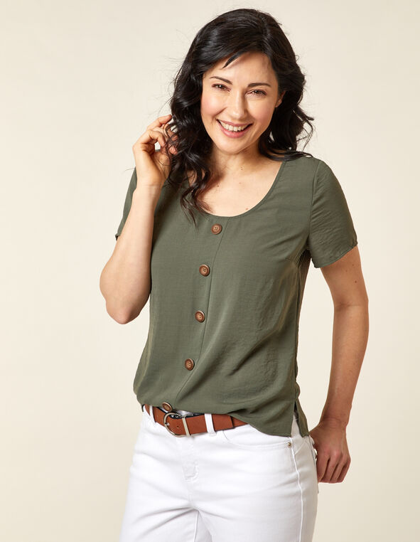 Olive Wood Button Blouse, Green/Olive, hi-res