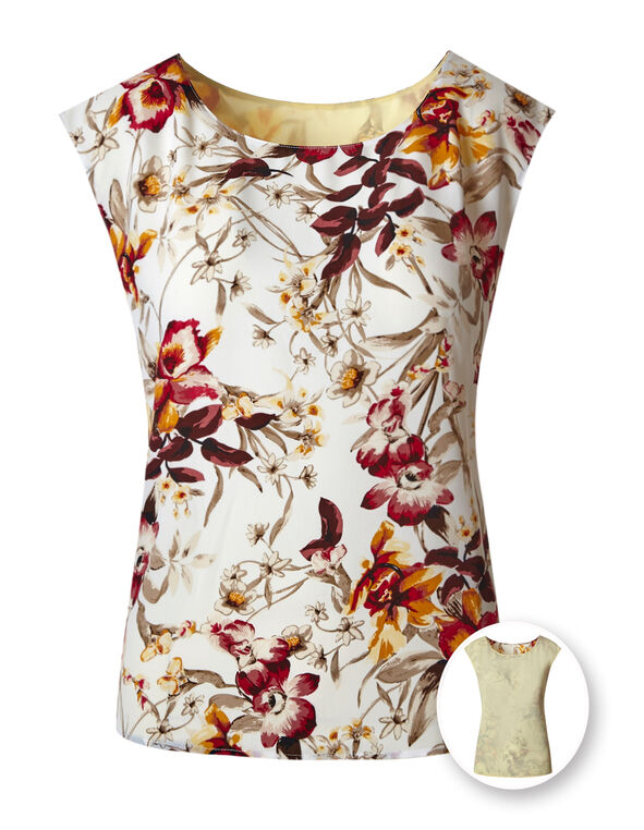 Ivory Floral Reversible Blouse, Ivory/Yellow, hi-res