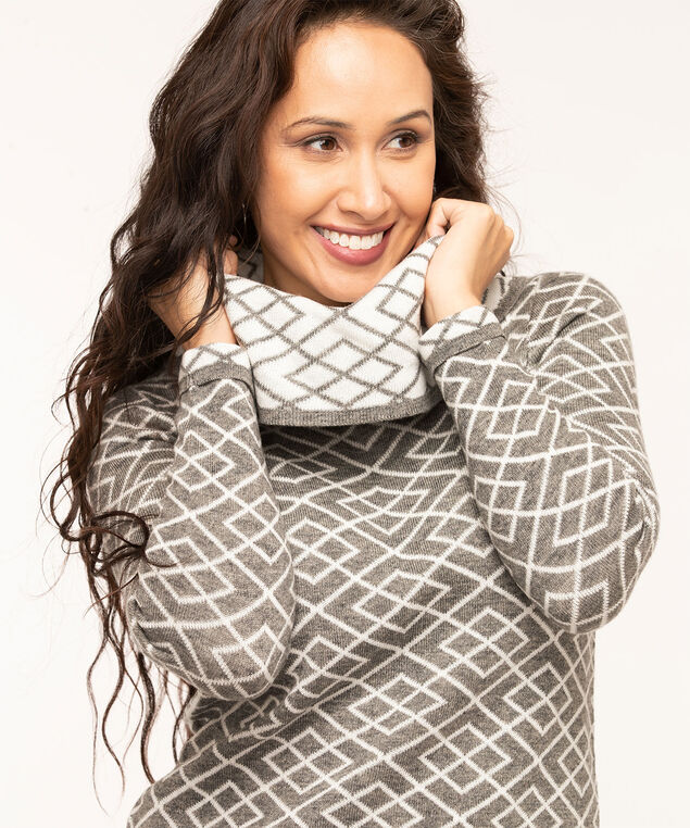 Grey Argyle Cowl Neck Sweater, Grey/Ivory