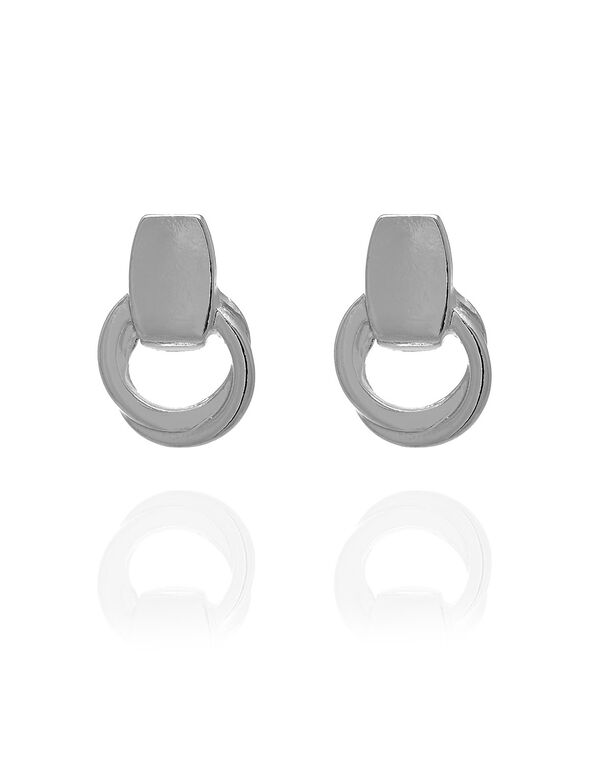 Small Silver Knot Earring, Silver, hi-res