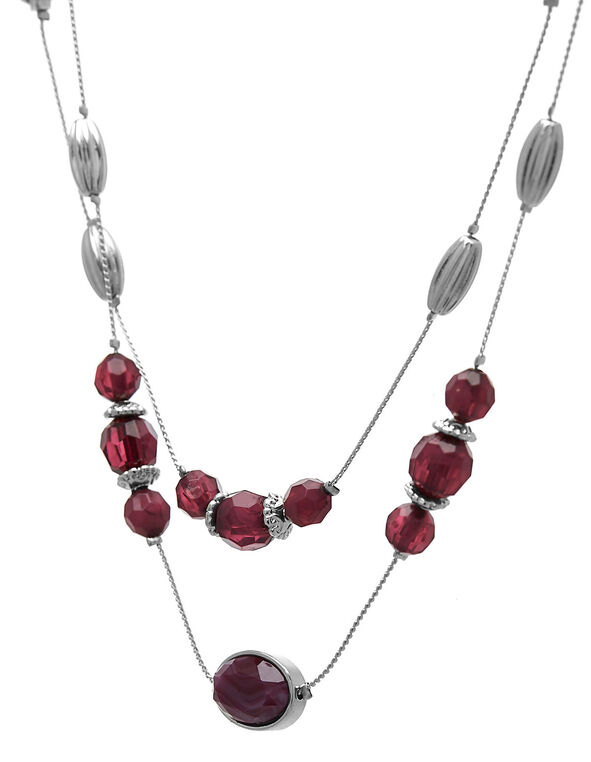 Purple Beaded Short Necklace, Purple, hi-res
