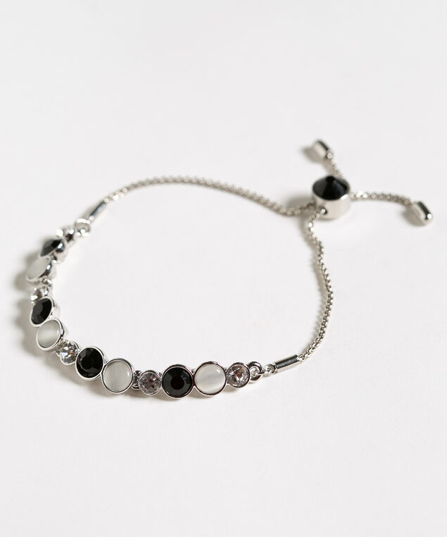 Black Crystal Adjustable Bracelet, Black/White/Crystal, hi-res