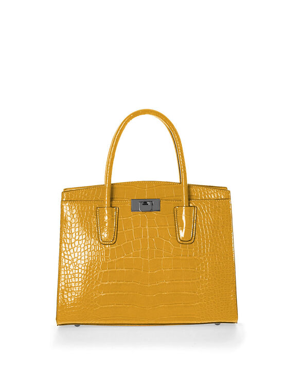 Ochre Croco Handbag, Yellow, hi-res
