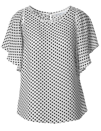 White Dotted Flutter Blouse, White Dot, hi-res