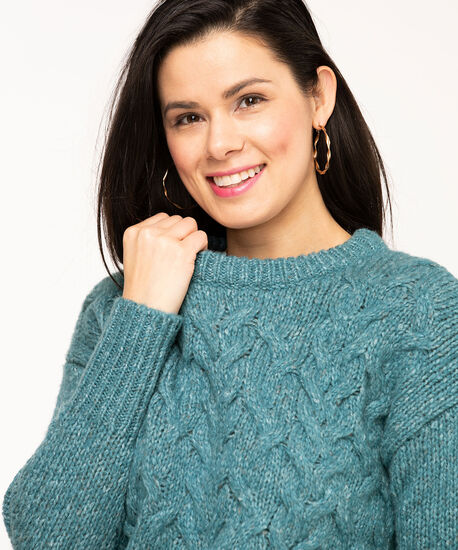 Mixed Yarn Cable Knit Sweater, Teal Mix, hi-res