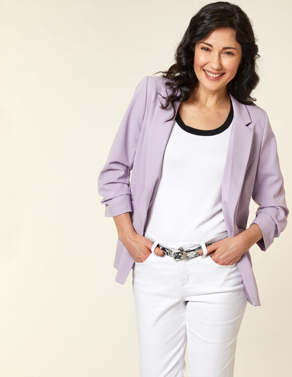 Orchid Ruched Blazer, Purple, hi-res