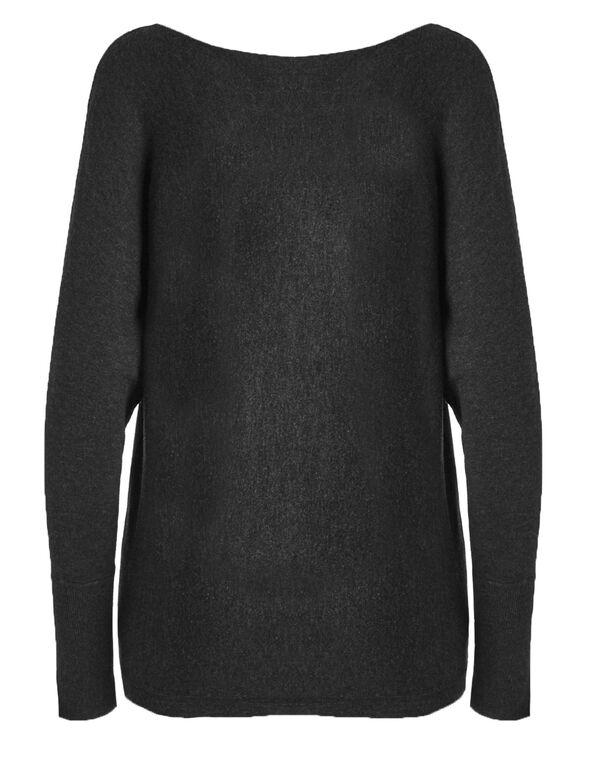 Dark Grey Grommet Pullover Sweater, Dark Grey, hi-res