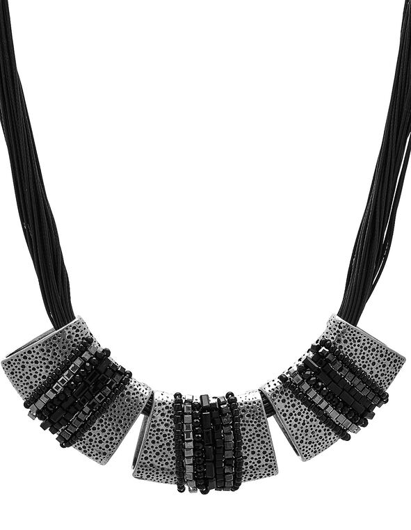 Short Black Corded Statement Necklace, Black, hi-res