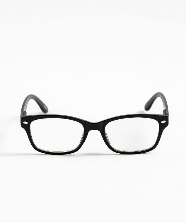 Square Blue Light Reader Glasses, Black