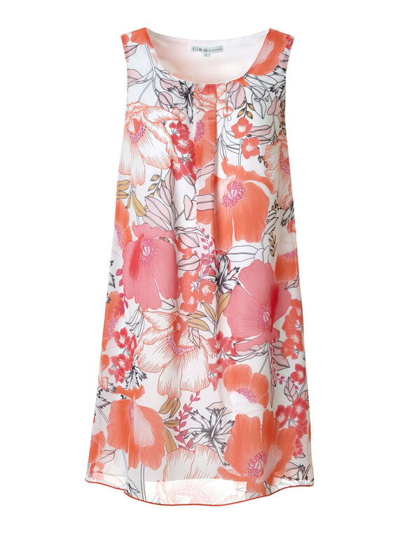 Chiffon Coral Floral Shift Dress, Coral/Pink, hi-res