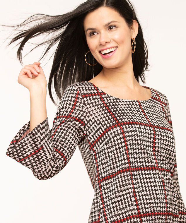 Houndstooth Plaid Tunic Top, Black/Red/Ivory, hi-res