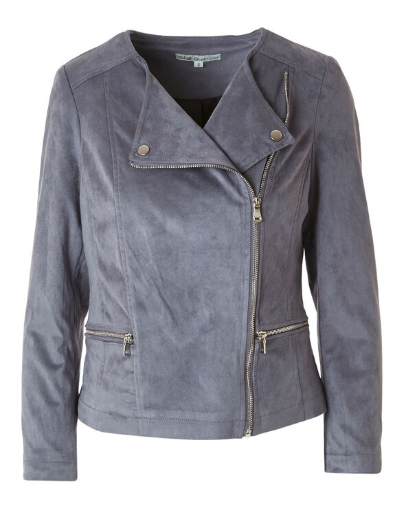 Grey Faux Suede Moto Jacket, Grey, hi-res