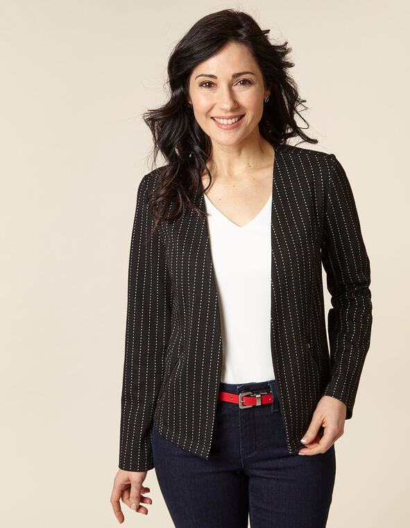 Black Microdot Zip Pocket Blazer, Black, hi-res