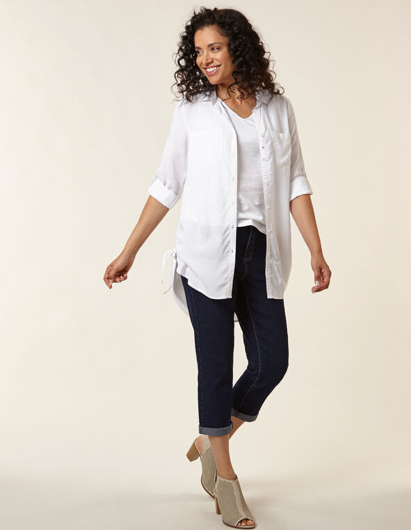 White Button Front Tunic Blouse, White, hi-res