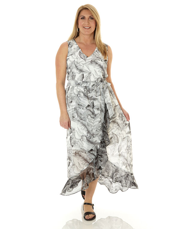 Black Tropical Printed Maxi Dress, Black/White, hi-res